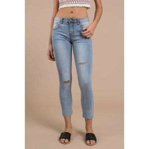 Denim - Mid Rise Distressed Skinny Jeans